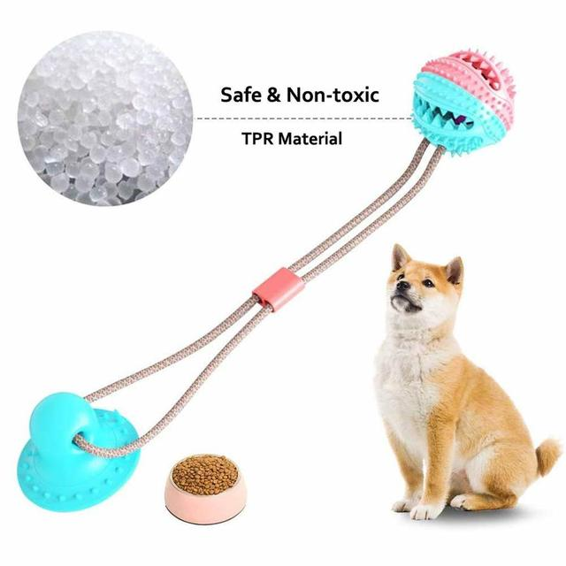 Dog Molar Bite Toy Multifunction Pet Chew Toys with Suction Cup Doggy Pull Ball for Dogs Cats Cleaning Tooth Food Dispenser NEW 5