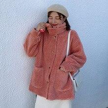 Korean Version Loose Lamb Fur Cardigan Coat Fashin Winter Hair Female Jacket New Warm