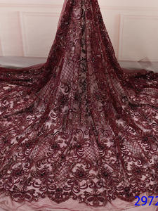 Lace-Fabric Beaded Sequence Nigerian Net Latest for Party KS2972B-2 Hot-Sale Luxury