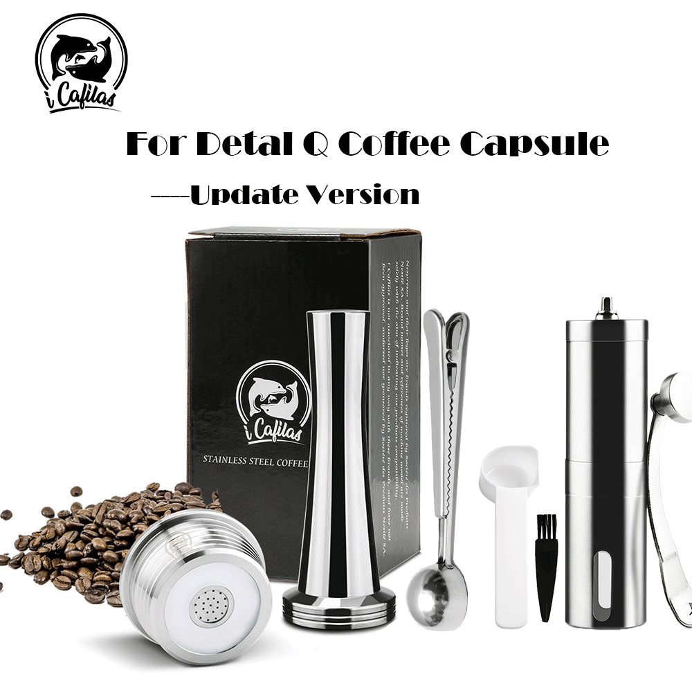 icafilas Reusable Coffee Capsule for Delta Q NDIQ7323 Maker Reutilizavel Coffee Filter Stainless Steel Reusable Pod with Grinder