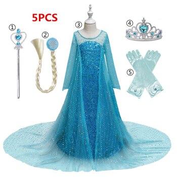 Vestido Elsa para niñas, vestido de Navidad infantil, Reina de la nieve 2 Anna Elsa, disfraz para niños, fiesta de cumpleaños, ropa, disfraz de princesa niñas