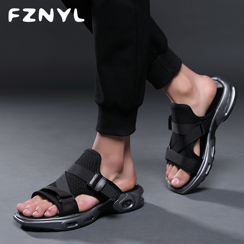 FZNYL Summer Sandals Men Outdoor Flip Flops Beach Slippers Top Quality Air-Cushion Damping Flat Mesh Indoor Home Casual Shoes