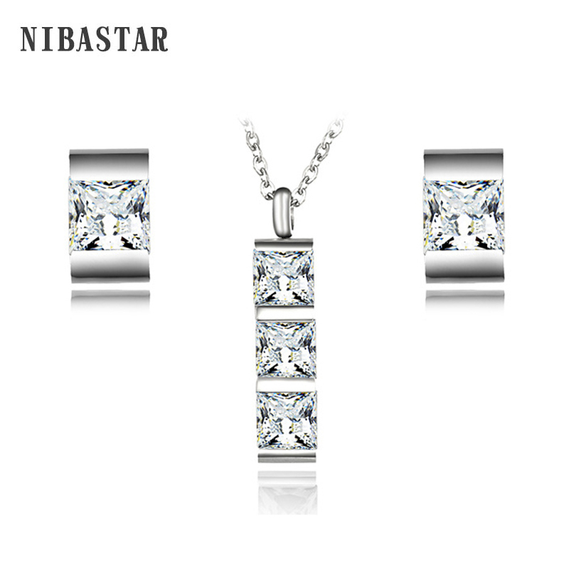 Hot Luxury ClassicJewelry Stainless Steel Pave Square Crystal Earring Pendant Necklace Set Wedding Jewelry Sets for Women Bride
