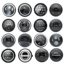 2xFor Lada Niva 7 дюймовый светодиодный головной светильник Hi/ближнего и дальнего света светильник Halo Угол Eyes DRL светодиодный налобный фонарь DC12v 24v...
