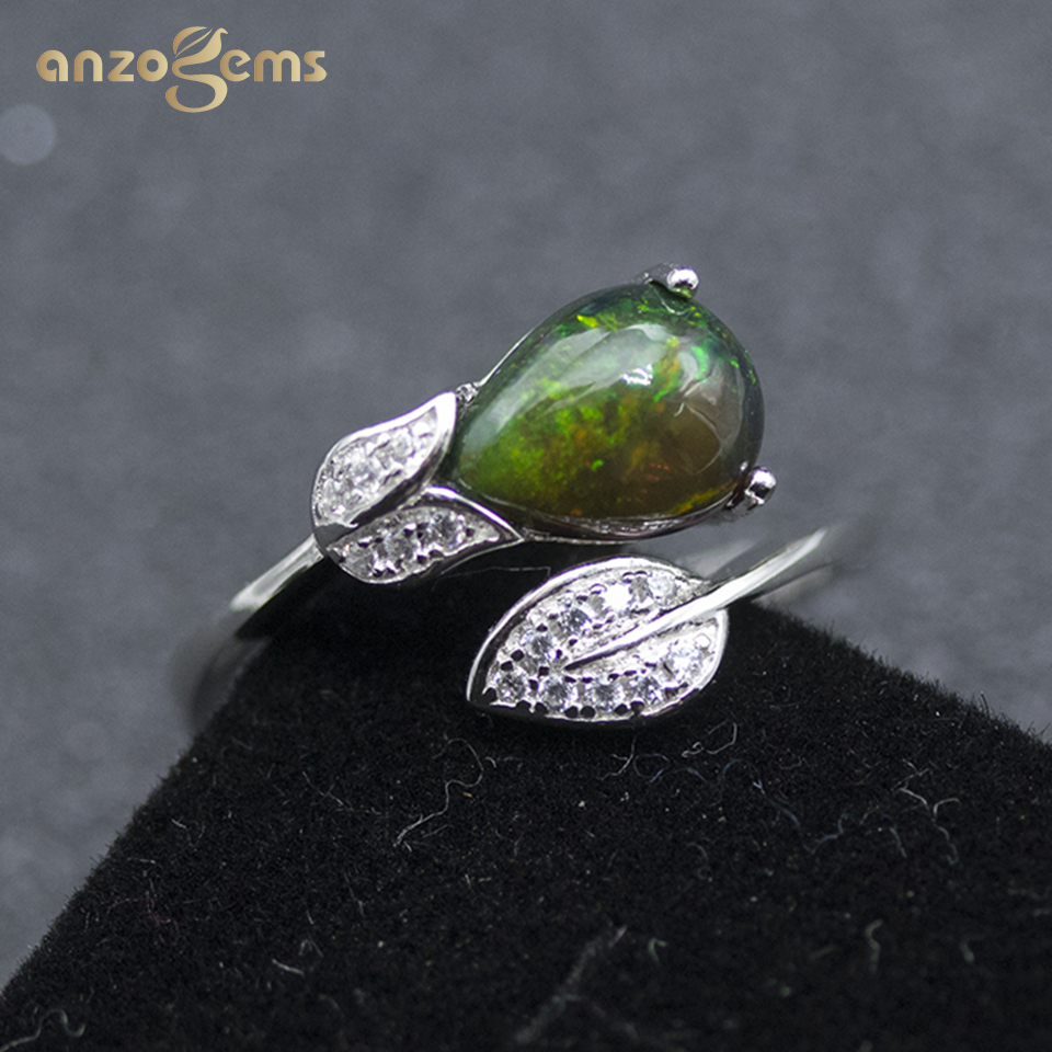 Anzogems 1.0 Carats Natural Black Opal Ring 925 Sterling Silver Pear 9*6mm Gemstone Fine Jewelry For Women's Mother's Day Gift