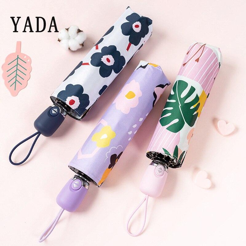 Automático para as Mulheres à Prova de Vento Yada Alta Qualidade Estilo Japonês Flores Guarda-chuva Ensolarado Chuvoso Dobrável Guarda-sóis Ys891