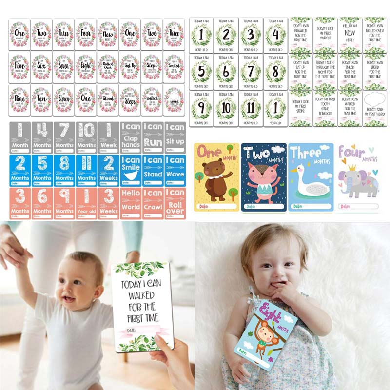24 Pcs/Set Month Card Baby Monthly Newborn Photos Funny Cartoon Photography Photo Cards