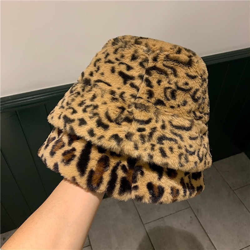 2019 Korea Autumn Winter Vintage Leopard Plush Bucket Cap Japanese Sweet And Lovely Fisherman Hat Warm Padded Basin Cap 56-58cm