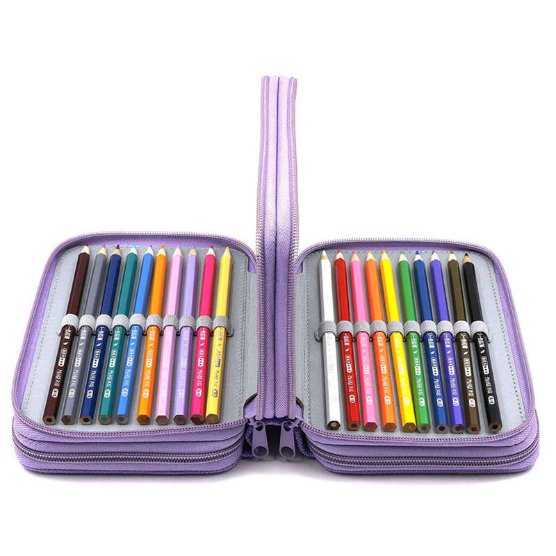72 Holes 4 Layers Pencil Case For School Student Oxford Bag Marker Storage Colored Pencils Pen School Supplies Purple