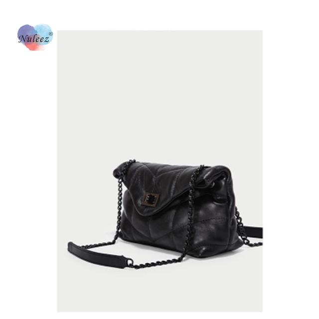 Nuleez Diamond lattice cross-boy chain bag women genuine leather cowhide soft messenger bag fashion lady day clutch
