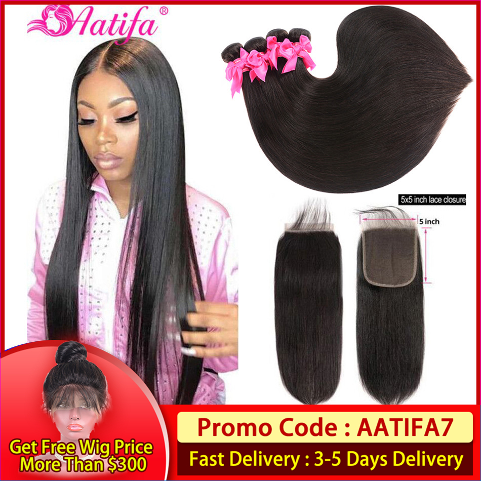 Peruvian Straight Bundles With Closure Human Hair Bundles With Closure Remy Hair 3 Bundles With  5x5 Closure Hair Extension