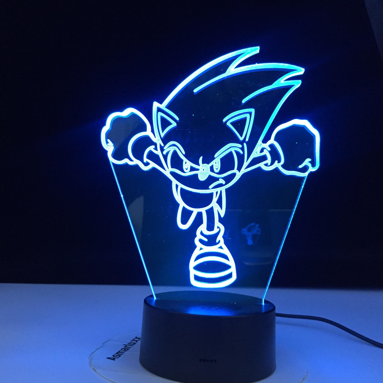 Running Sonic Figure Led Night Light For Kids Bedroom Decoration Nightlight Colors Changing Usb Desk Lamp The Hedgehog Gift