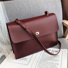 Burminsa Vintage Aktentasche Schulter Taschen Für Frauen Große Kapazität A4 Portfolio Arbeit Taschen Hohe Qualität Damen Umhängetaschen 2020