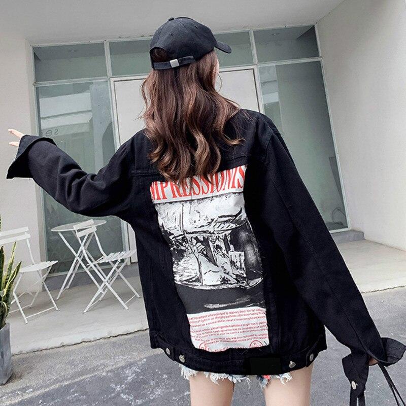 Spring Women Black Denim Jacket Vintage Back Abstract Pattern And Letter Print Loose Coat High Street Jean Jacket Veste Femme