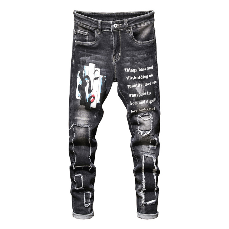 Sokotoo Men's Monroe Printed Stretch Jeans Fashion Letters Painted Holes Ripped Patchwork Straight Denim Pants