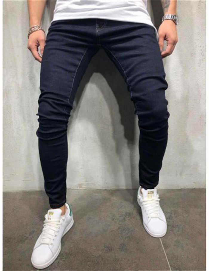 Pantalones de tubo Puimentiua pantalones de chándal elásticos para hombre harén de pantalones de mezclilla sólida Casual lápiz Jogger pantalones vaqueros negros azules