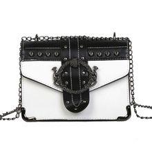 Women Korean Punk Rivet Bag Ladies PU Shoulder Bag Fashion Casual Small Square Bag Chain Messenger Bags цены онлайн