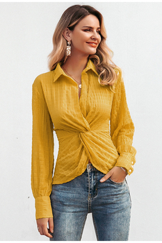 Blusa casual elegante manga larga otoño cintura alta 1