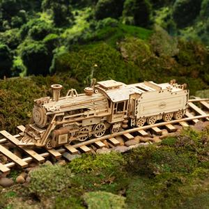 Image 3 - Robotime Rokr DIY Laser Cutting Movable Steam Train Wooden Model Building Kits Assembly Toy Gift for Children Adult MC501