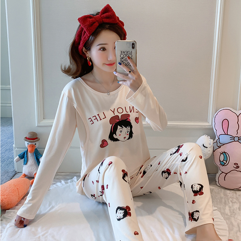 Pregnant Women Confinement Clothing Double Long Qmilch Japanese Korean Hoodie WOMEN'S Dress Maternal Pajamas Maternal Lactation