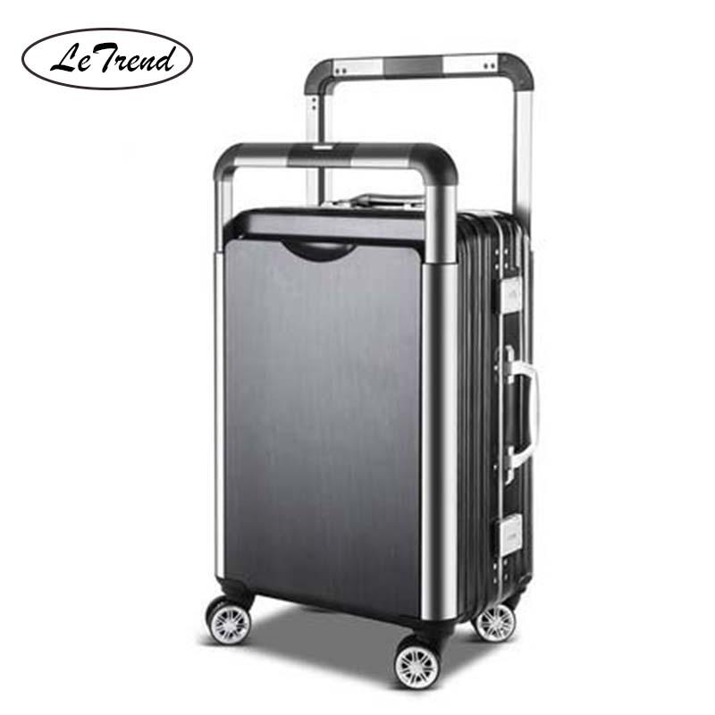 Suitcase-Wheels Trolley Travel-Bag Couple Rolling-Luggage Aluminum Women Spinner Korean