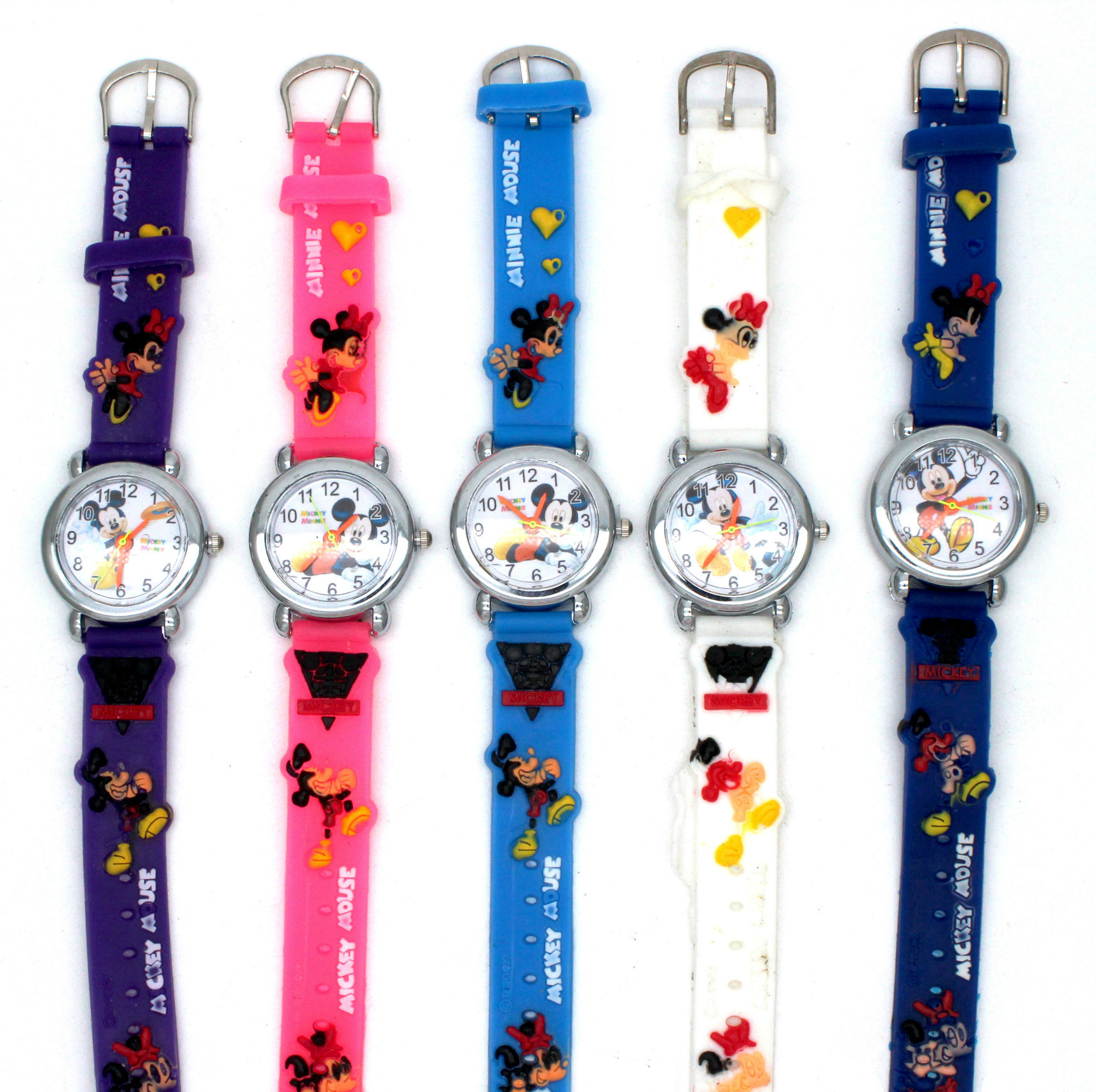 Disney Mickey Cartoon Children's Quartz Wristwatch Silicone Band Watches Animation Character Quartz Student Table Silicone