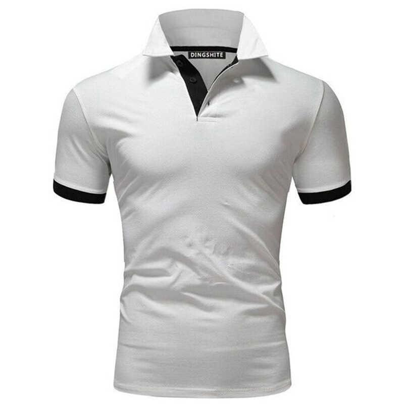 Tendências da moda roupas de marca masculina camisa polo de negócios casual camisa polo masculino manga curta alta qualidade puro algodão