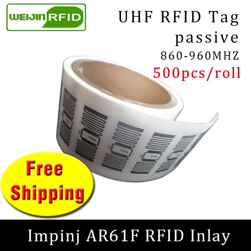 RFID Sticker UHF Tag Impinj MonzaR6 AR61F EPC 6C Wet Inlay 915mhz868m860-960MHZ 500pcs Free Shipping Adhesive Passive RFID Label