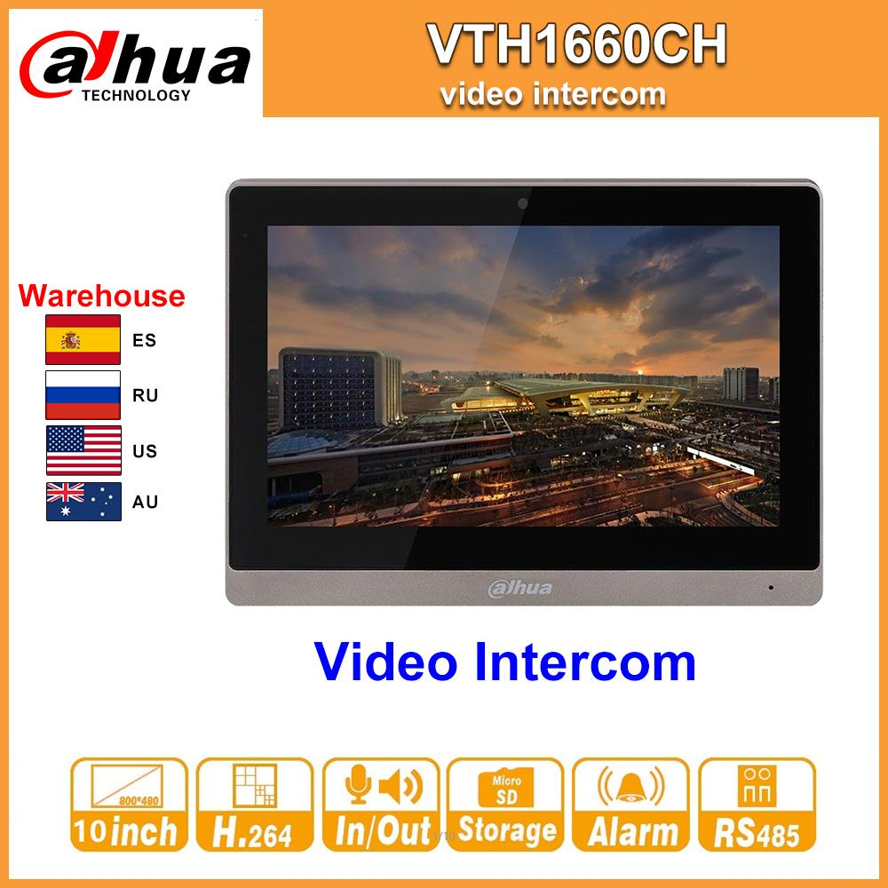 Original Dahua Video Intercom VTH1660CH Indoor Monitor 10-inch 800*480 Resilution Touch Screen Color IP Video Intercom