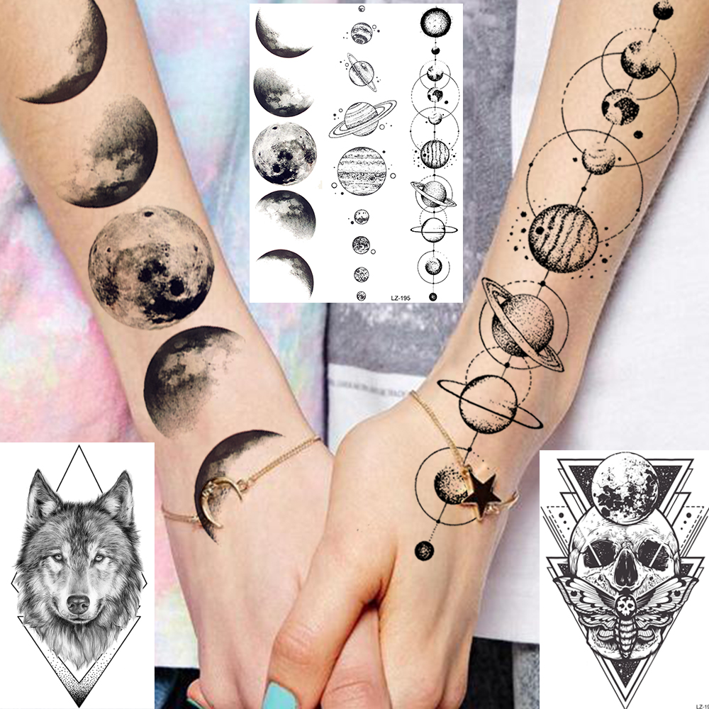 Water Transfer 3D Star Black Planet Tree Temporary Tattoo Sticker For Kids Women Men Wolf Lion Tree Tattoos Foream Body Arm Tato