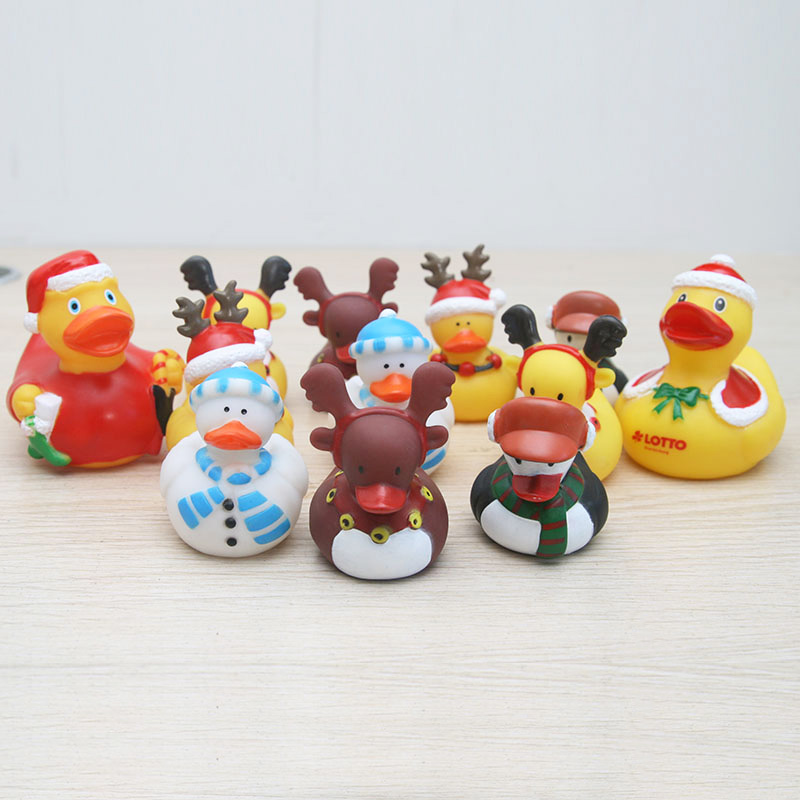 8PCS Christmas Scarf Hat Snowman Elk Duck Floating Soft Rubber Duck Baby Bath Toys Xmas New Year Birthday Party Home Decoration