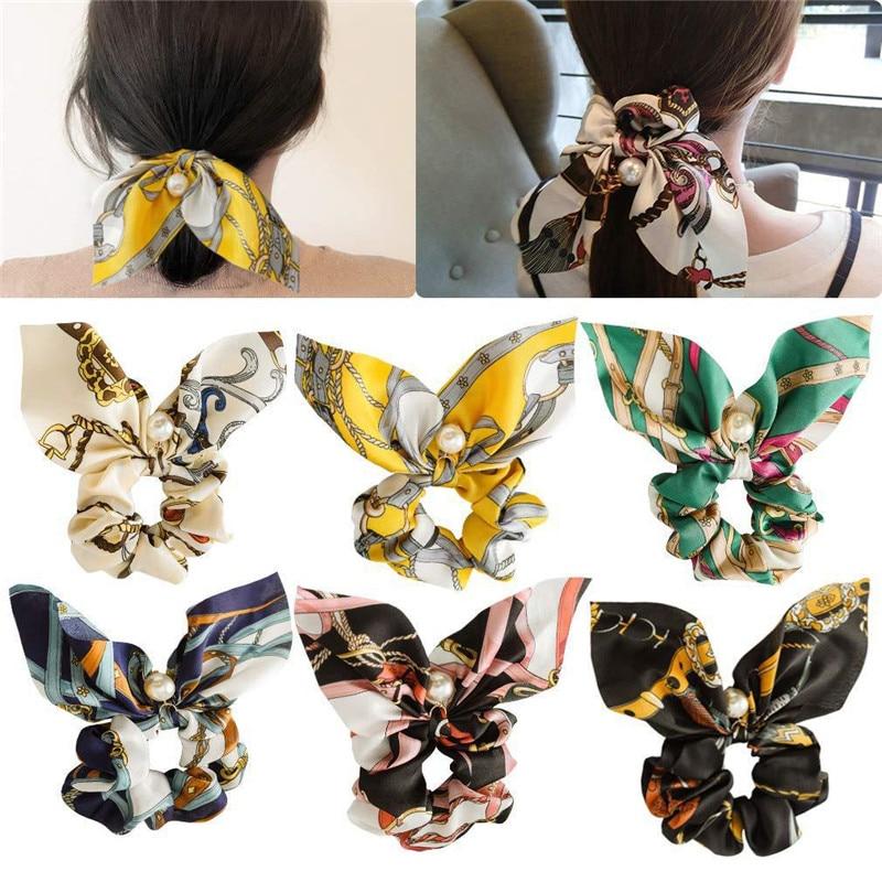 New Arrival Chiffon Bowknot Silk Hair Scrunchies Women Pearl Ponytail Holder Hair Tie Hair Rope Rubber Bands Hair Accessories