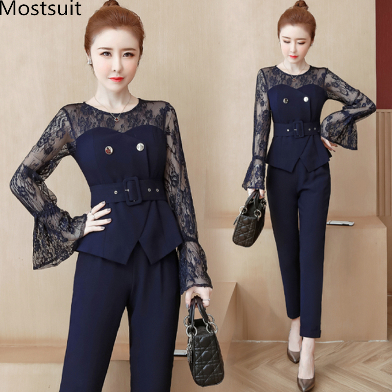 Blue Lace Office Two Piece Sets Outfits Women Plus Size Flare Sleeve Tops And Pants Suits Elegant Ladies Ol Style Korean Sets 27
