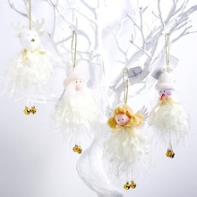 Christmas plush toy doll Cute angel old pendant Christmas tree decoration home holiday decoration cute holiday snowman doll lint cellucotton toy for christmas white red