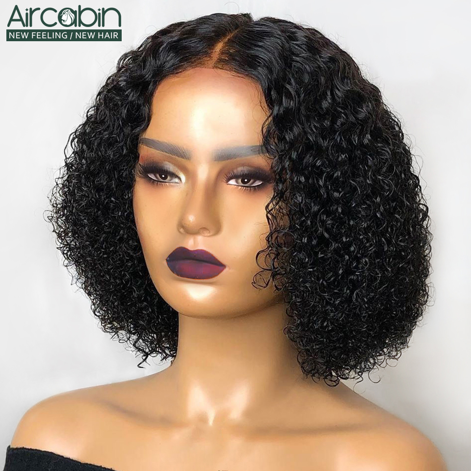 Aircabin Curly Lace Closure Bob Wig Brazilian Human Hair Wigs For Black Women 8