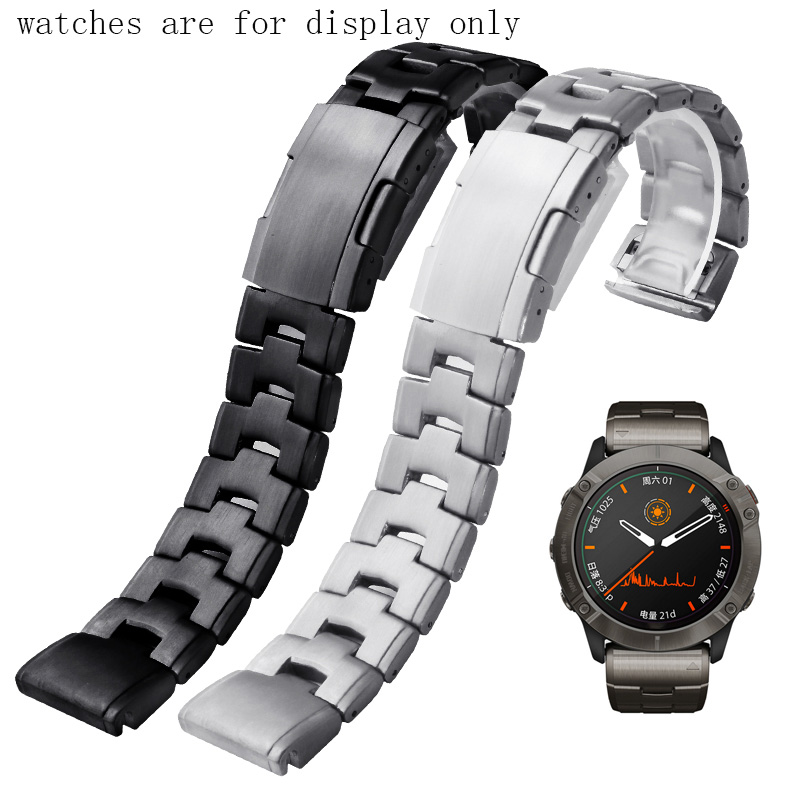 Stainless Steel Watchband 22mm 26mm Black Silver Strap Suitable For Garmin Fenix6x pro 5X plus 3HR Watch Chain