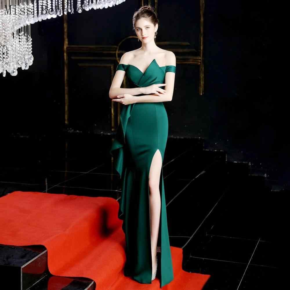 DD JYOY uzun akşam elbise denizkızı seksi ön bölünmüş kapalı omuz fermuar geri Occassion elbise kadınlar için gece elbisesi