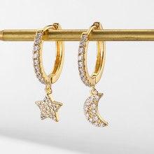 UILZ Mode Cubic Zirkon Stern Ohrringe Clssic Shiny Cz Mond und Stern Hoop Ohrringe für Frauen Mädchen Schmuck Geschenk 2020 CS3242