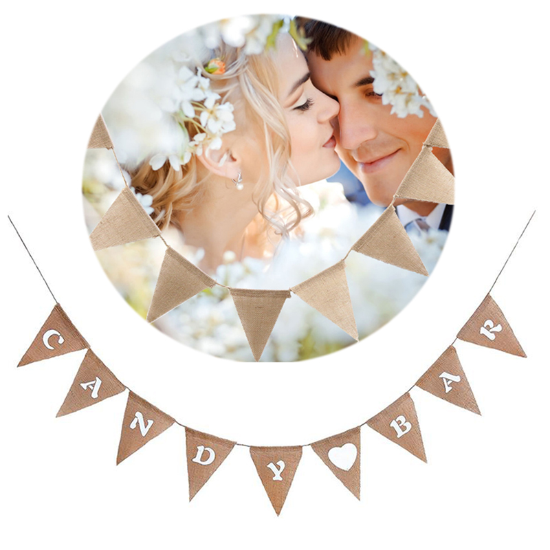 Candy Bar Heart Print Banner Hessian Pennant Triangle Burlap Banner Triangle Flags for Party Carnival Decoration