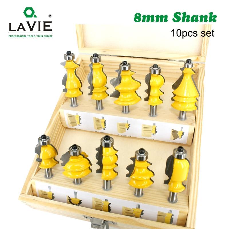 LA VIE 10pcs 8mm Shank Architectural Molding Handrail Router Bits Set Casing Base CNC Line Woodworking Cutters Face Mill MC02070