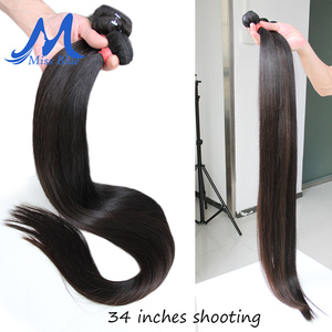 Image 3 - Missblue, 28, 30, 32, 34, 36, 38, 40 дюймов, бразильские волосы, пряди, прямые, 100% человеческие волосы, пряди для наращивания Remy