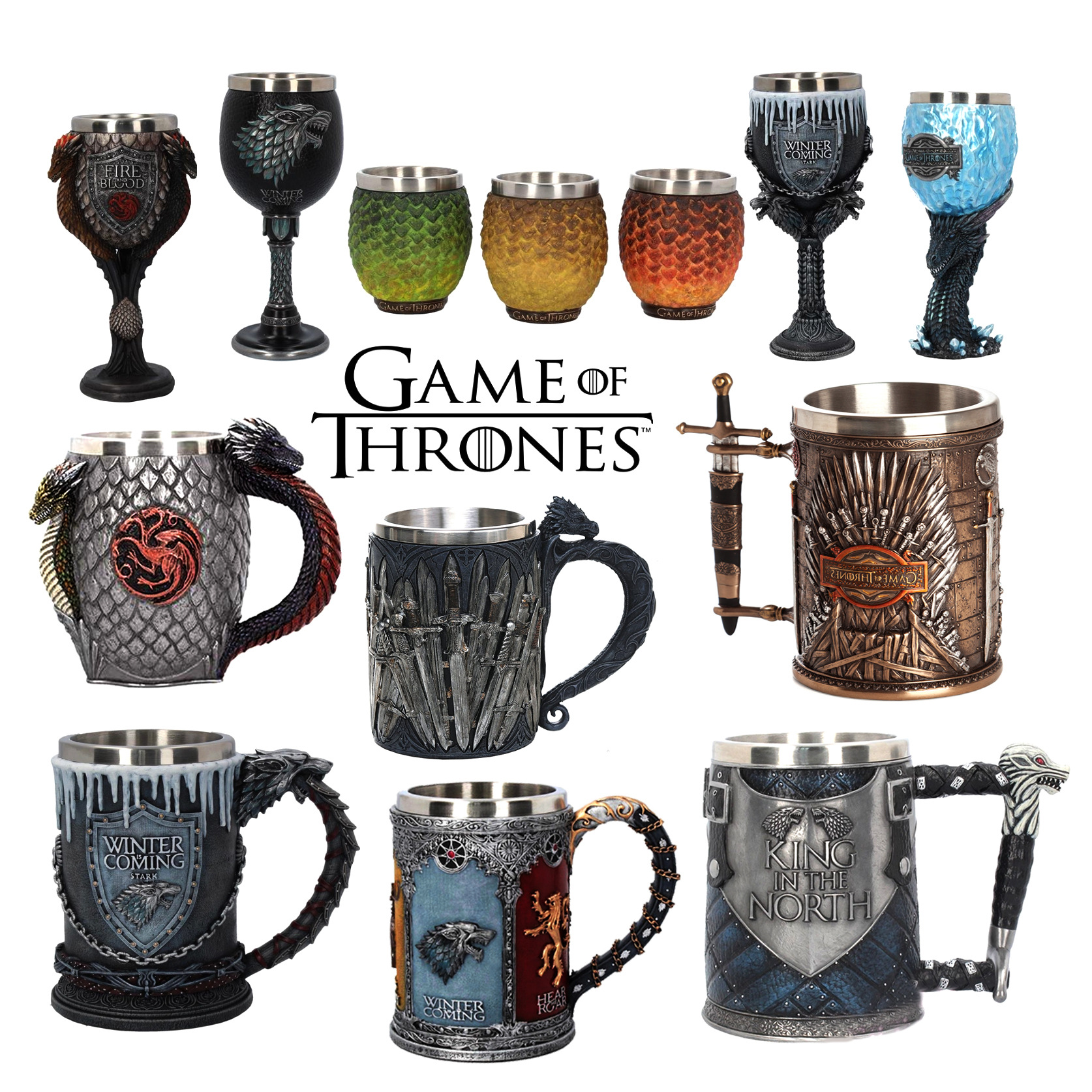 Stainless Steel Thrones Mug Stark Legends of The Swords,Song of Ice and Fire Viking Horn Beer Mug Drinking Coffee Mugs and Cups image
