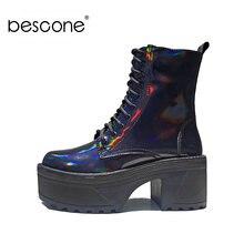 Ботильоны bescone женские на высоком устойчивом каблуке толстые