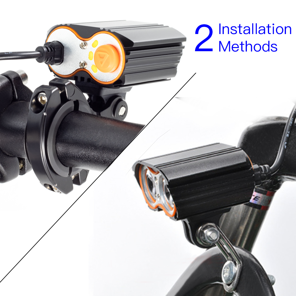 E-Bike Light Headlight 85Lux Input DC 12V 36V 48V 60V Standard with 2 Mounts Way