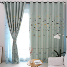 Cartoon Blue Fish Patterns Curtains for Living Room Shading French Window Bedroom Children
