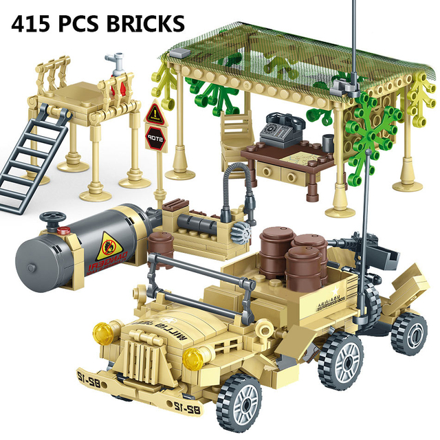 400+Pcs Toy Blocks Army Soldiers Weapon Building Blocks Military Camp Trucks Jeeps Car Set Blocks  CompatibleToys For Child