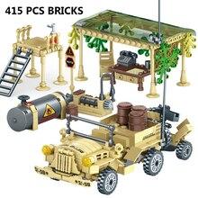 400 + Stuks Speelgoed Blokken Leger Soldaten Wapen Bouwstenen Militaire Kamp Vrachtwagens Jeeps Auto Set Blokken Compatibletoys Voor Kind