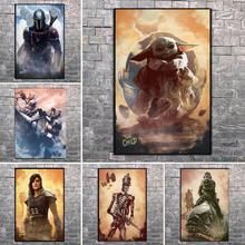 strong Import List strong Obraz na płótnie Disney Star Wars Mandalorian postacie plakaty i druki portret Mando Yoda zdjęcia ścienny do wystroju domu tanie tanio CN (pochodzenie) Wydruki na płótnie Pojedyncze PŁÓTNO akwarelowy abstrakcyjne bez ramki Malowanie natryskowe Pionowy prostokąt