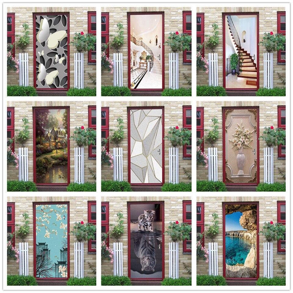 3D Vlinder Deur Sticker Pvc Zelfklevende Waterdichte Wall Mural Decals Sticker Op De Deuren Diy Home Design Autocollant Porte