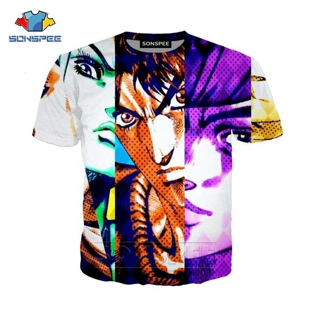 SONSPEE Summer Men Women Kujo Jotaro Sweatshirt 3D Print Anime JoJo Bizarre Adventure T Shirt Short Sleeve Top Pullover SY201-01 5